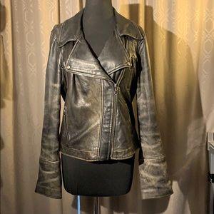 DKNY soft buttery leather Moto jacket